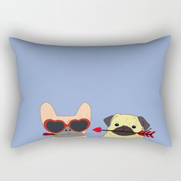 Pug and Bulldog Love Rectangular Pillow