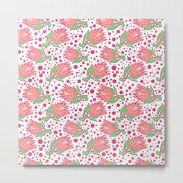 Soft Pink Australian Native Floral Print - King Protea Metal Print