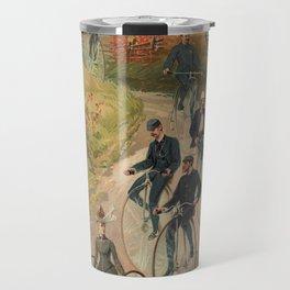 Vintage Bicycle Race 1800s Bike Riders Travel Mug