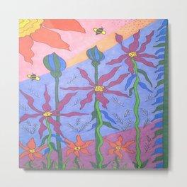 Blue Bohemian Garden Art Metal Print