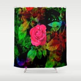 The Technicolor Rosebush Shower Curtain