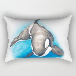 Orca Whale Blue Rectangular Pillow