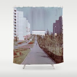 Pobedy Avenue in Amursk (1985) Shower Curtain