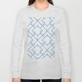 Bamboo Chinoiserie Lattice in White + Light Blue Long Sleeve T-shirt