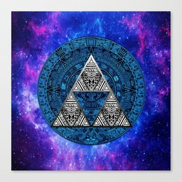 Triforce Circle With Blue Nebula Canvas Print