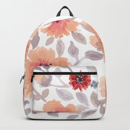 Watercolor . Salmon flowers . Backpack