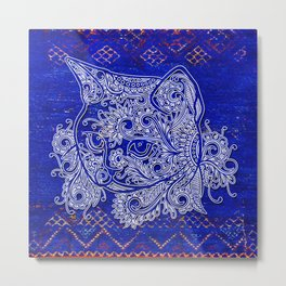 N20 - Tribal Cute Cat Hand Drawing, Traditonal Moroccan Carpet Background Metal Print