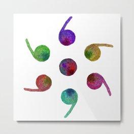 Semicolons Watercolor Circle Metal Print