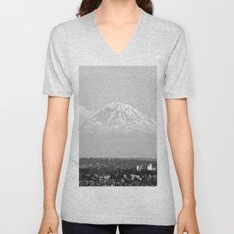 Hovering Mt Rainier in Mono Unisex V-Neck