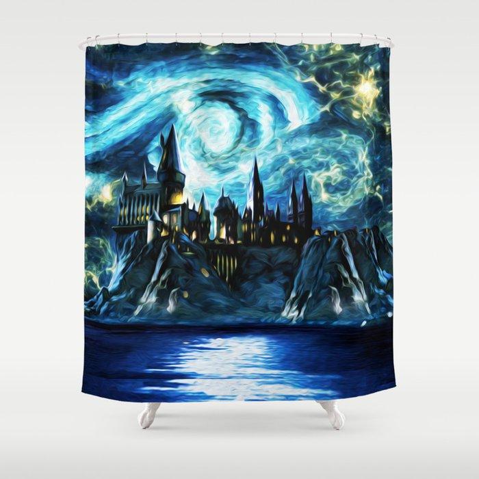 Starry Night Hogwarts Shower Curtain