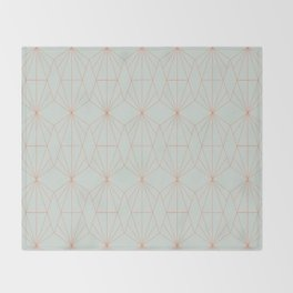 Geometry art decó in blue and orange Throw Blanket