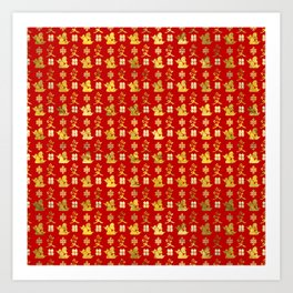 Mandarin Ducks, love and eternal knot pattern Art Print
