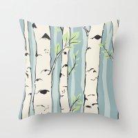 birch Throw Pillows featuring Birch by Marlene Pixley