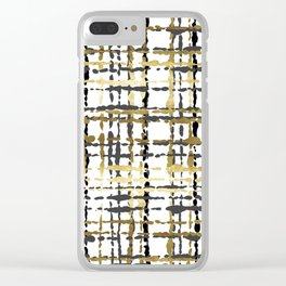 Black and Gold Loose Plaid Clear iPhone Case