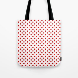 Polka dots Red dots over white Tote Bag