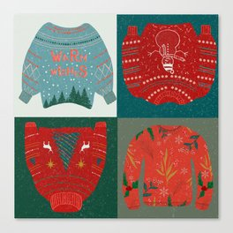 Warm wishes sweater//Christmas sweater // Christmas patterns // knitted sweater // warm wishes//snow Canvas Print