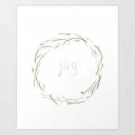 Joy Holiday Wreath Art Print