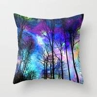 decal Throw Pillows featuring fantasy sky by haroulita