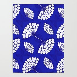 African Floral Motif on Royal Blue Poster