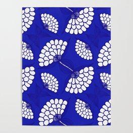 African Floral Motif on Royal Blue Poster