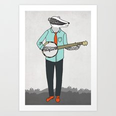 Banjo Badger Art Print