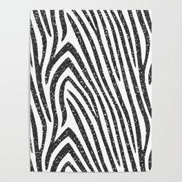Black Glitter Zebra Stripes Poster