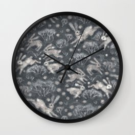 Hares Field, Winter Rabbits Bunnies Pattern, Felted Wool Texture Gray Wall Clock