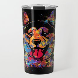 Colorful Akita Portrait Travel Mug