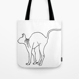 Sphynx Cat Arching Its Back - Naked Cat -  Simple Line - Minimal Tote Bag