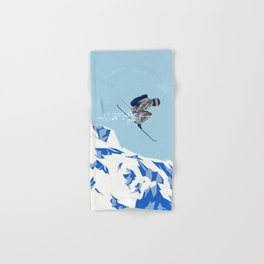 Airborn Skier Flying Down the Ski Slopes Hand & Bath Towel