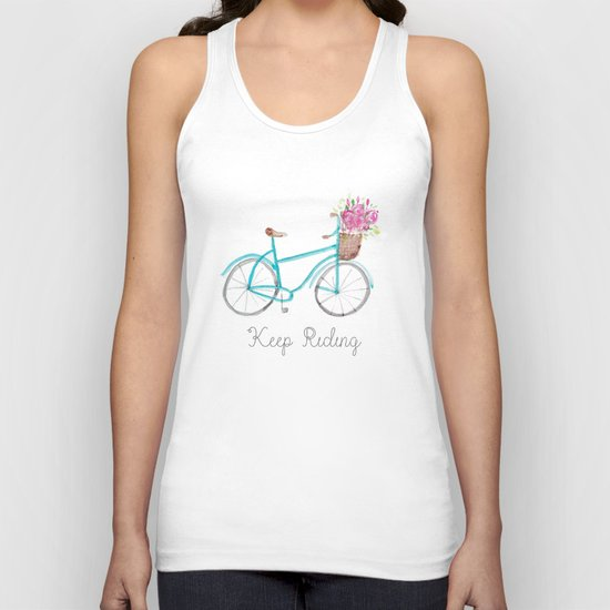 Keep Riding Bike, Watercolor Bike Unisex Tank Top