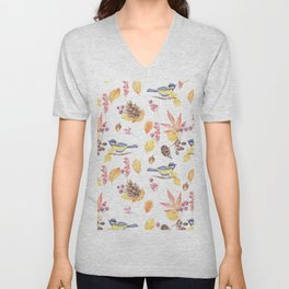 Watercolor pink blue yellow bird fall leaves floral Unisex V-Neck