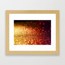 Fire and flames - Red and yellow glitter effect texture Framed Art Print