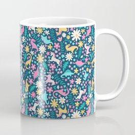 Floral Burst with Dinosaurs + Unicorns in Neon Coffee Mug