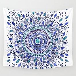 Indigo Flowered Mandala Wall Tapestry
