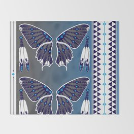 Butterfly Nation Blue Throw Blanket