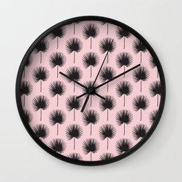 Pastel Pink & Fan Palms Wall Clock