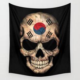 Dark Skull with Flag of South Korea Wall Tapestry