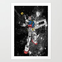 gundam Art Prints featuring Fly, Gundam! by Paul Reoyo