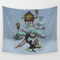 christmas tree Wall Tapestries featuring Christmas Tree by Anna Shell