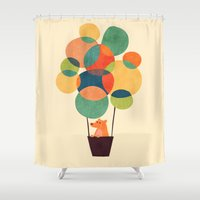 hot air balloon Shower Curtains featuring Whimsical Hot Air Balloon by Picomodi