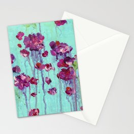 Abstract Blue and Pink Flower Painting Stationery Cards