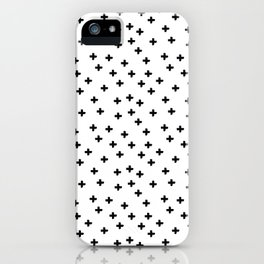 Black hand drawn pluses pattern on white iPhone Case