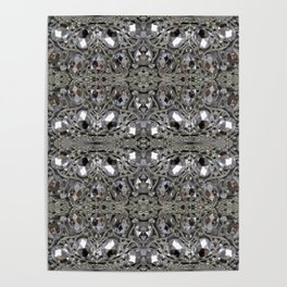 girly chic glitter sparkle rhinestone silver crystal Poster