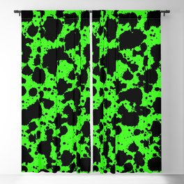 Bright Green and Black Leopard Style Paint Splash Funny Pattern Blackout Curtain