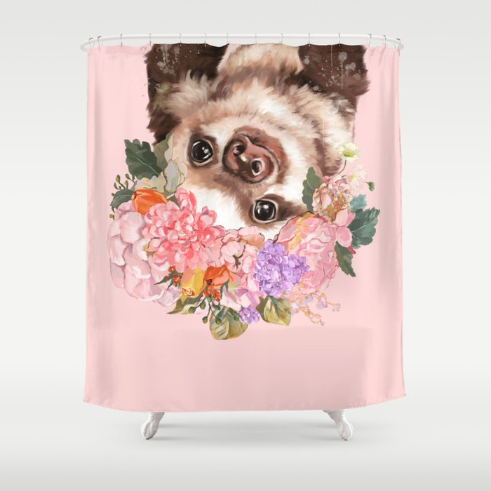 Baby Sloth With Flowers Crown In Pink Shower Curtain
