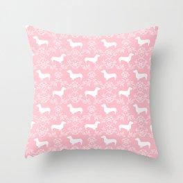 Dachshund pink florals pet portrait dog art dachsie doxie pet art dog breeds Throw Pillow