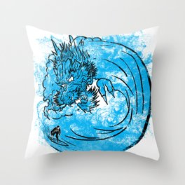 Dragon Waves Throw Pillow