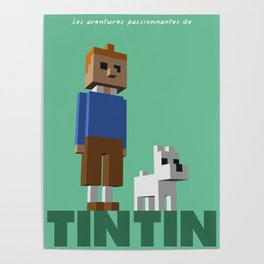 Tintin voxel tribute Poster
