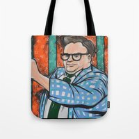 snl Tote Bags featuring SNL Chris Farley as Matt Foley by Portraits on the Periphery